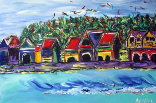 Boathouse row painting