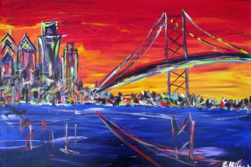 Ben Franklin Bridge Philadelphia Skyline painting