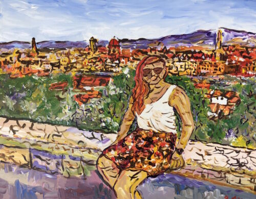 Self Portrait in Florence Italy Painting