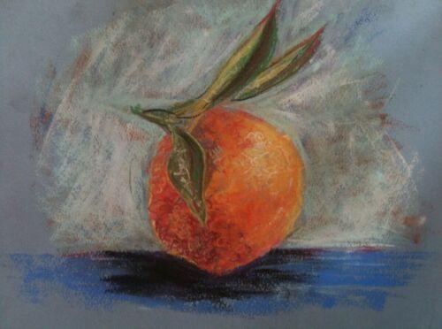 Orange still life pastel