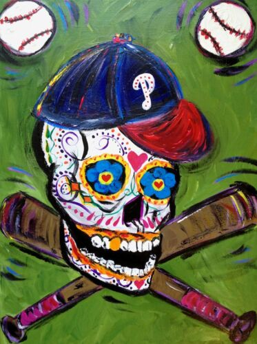 Philadelphia Phillies Baseball Sugar skull painting