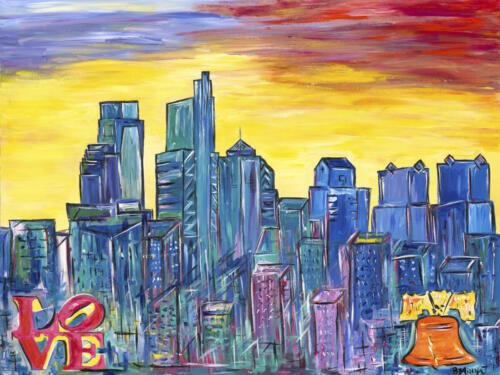 Philadelphia skyline with LOVE and Liberty Bell painting