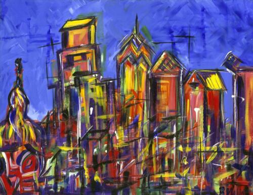 Philly Skyline with LOVE statue painting