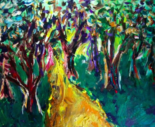 Trail running painting