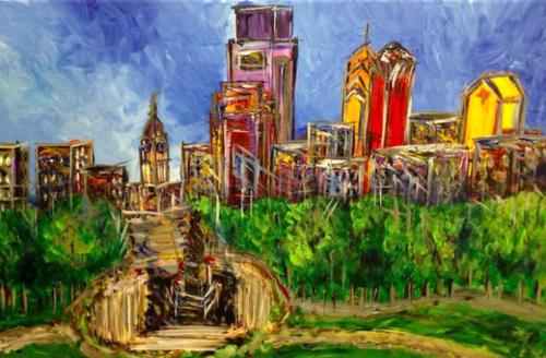 Philadelphia skyline eakins oval painting