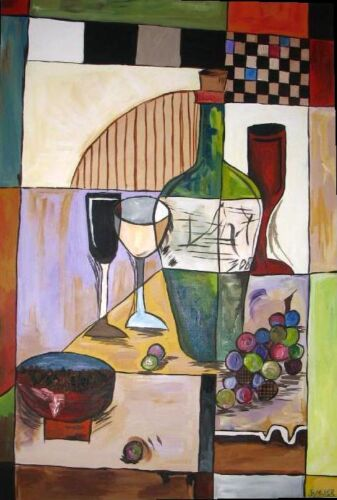 Wine bottle and glasses painting