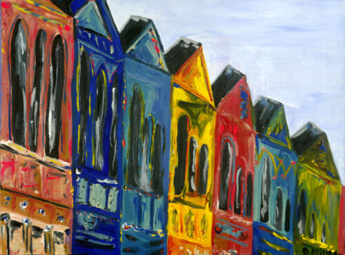 Rainbow townhouses painting