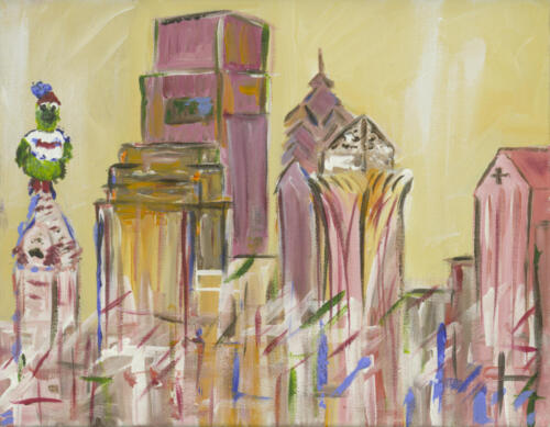 Philly Phanatic Skyline Painting